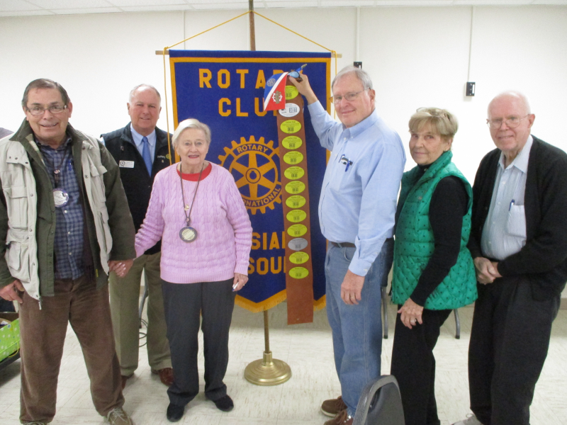 Pictured here are John Murray, District Governor John Vietmeyer, Dottie Brown-Murray, Clay Logan, Betty Dolbeare, and Randall Cone. These five members represent a combined 150 years of membership in our local Rotary Club!